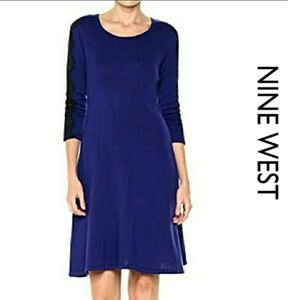 Nine West Knit Sweater Fit Flare Dress Lace Detail